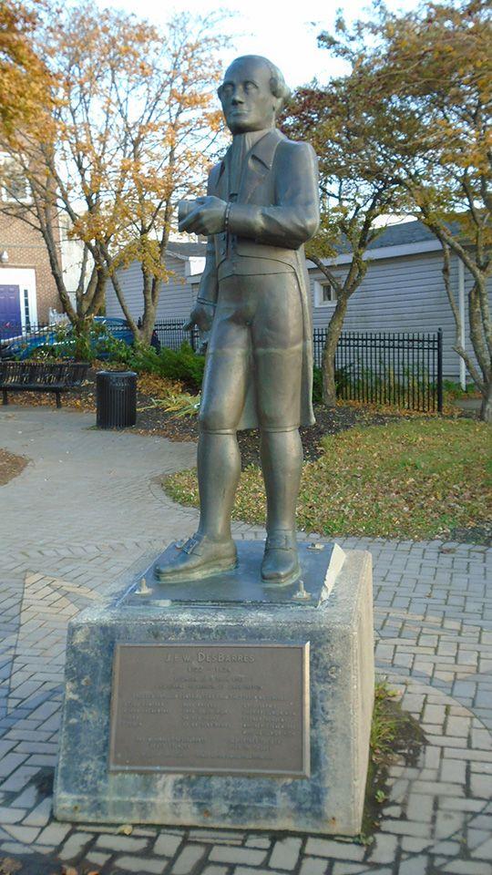 Statue of Joseph Frederick Wallet Desbarres, founder of Sydney, NS