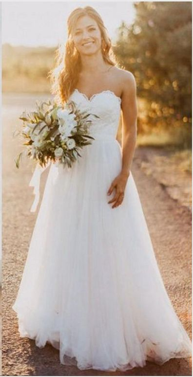 A Line Princess White Lace Beach Wedding Dresses Sweetheart Tulle Simple Wedding Gowns Cheap Bridal Wedding Dress