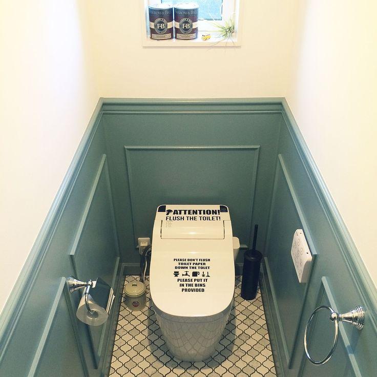 トイレ/ステッカー/IKEA/shakikoさん/ペンキ塗り/腰壁…などのインテリア実例 - 2016-02-03 19:30:04   RoomClip(ルームクリップ)