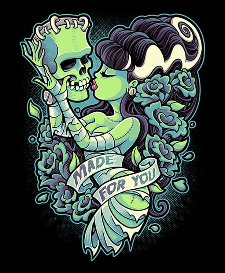 This canvas giclee features a pin up illustration of the Bride of Frankenstein. Title: Made For You Artist: Jehsee Made-to-order Jehsee canvas fine art reproductions on canvas. Stretched and ready to