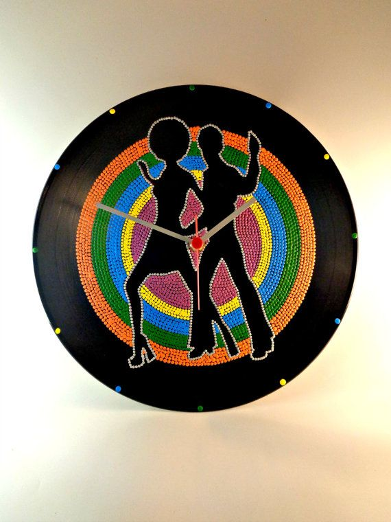 Disco Vinyl Clock Hand Painted Multicolor by InsaneDotting on Etsy