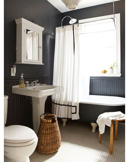 Bathroom Design - Home and Garden Design Idea's--love the floor, dark walls, pedistal sink (but more modern) and medicene cabinet