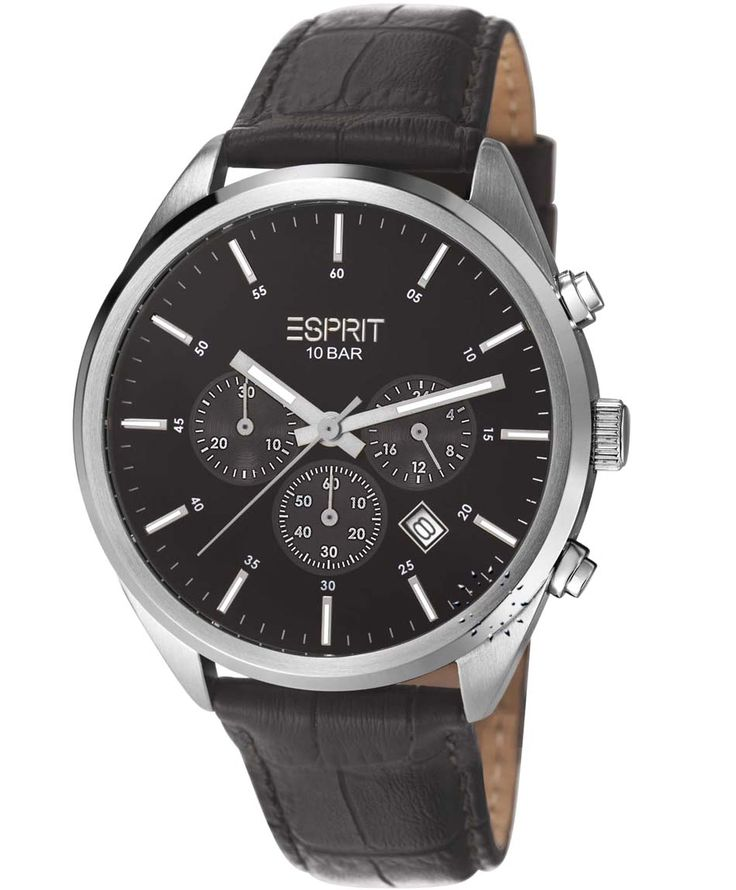 OROLOI.gr - Ανδρικά Ρολόγια ESPRIT - ESPRIT Glandale Chrono All Black Leather strap
