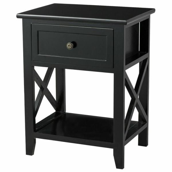 Costway 1 Drawer Black End Bedside Table Nightstand Drawer Storage Room Decor With Bottom Shelf In 2020 Bedside Tables Nightstands Nightstand Storage Wooden Nightstand