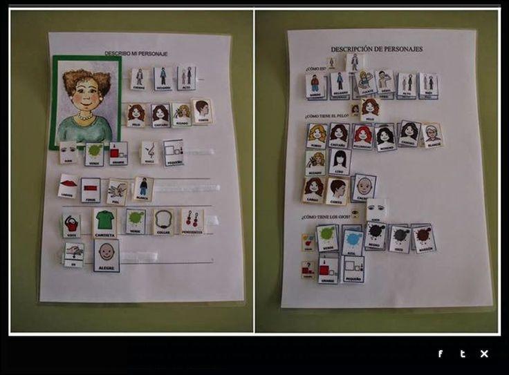 Material para la descripción de personajes con la ayuda de plantillas y cuyo objetivo es aumentar la producción oral. http://arasaac.org/materiales.php?id_material=1178
