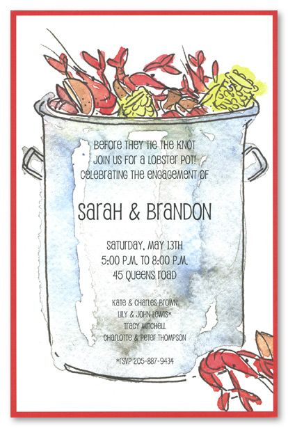 Low Country Boil Rehearsal Dinner Invitations, Watercolor Stylish Crawfish Pot Invitations