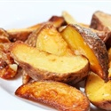 Roasted Potatoes:  -garlic powder  -onion powder  -tbsp olive oil  -Parsley Flakes  -3 small russett potatoes  Directions:  Wash potatoes then chop into mini bite size with skin on. Cover top of potatoes with garlic powder and again with onion powder. Put in large bowl with olive oil, cover and shake well. Put on a cookie sheet then sprinkle parsley flakes over potatoes. Broil for 20 minutes. Stir at 10 minutes into broiling. They come out crispy.