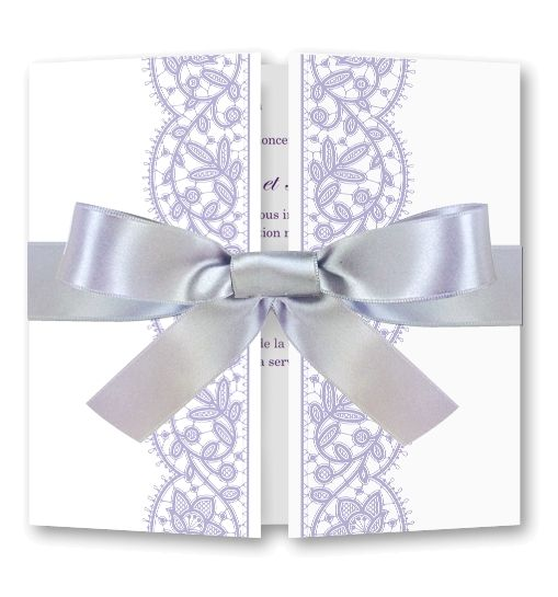Faire part mariage Dentelle délicate mauve (RFESA-2-TP37)