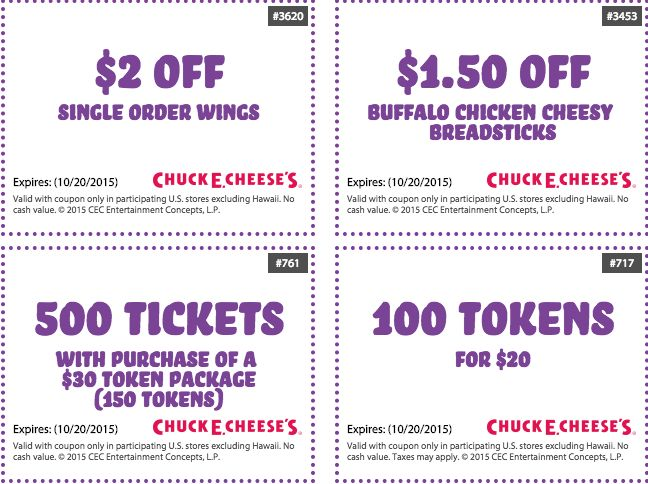 Chuck E Cheese Printable Coupons Free Tokens September 2015 and October 2015
