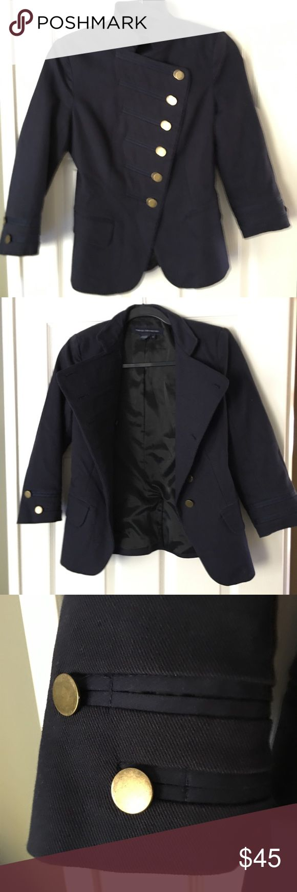French connection navy military jacket French connection fitted navy blue military jacket with gold details size 4 French Connection Jackets & Coats Blazers
