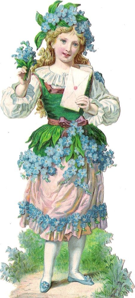 Oblaten Glanzbild scrap die cut chromo Blumen Kind 17cm flower child lady fille