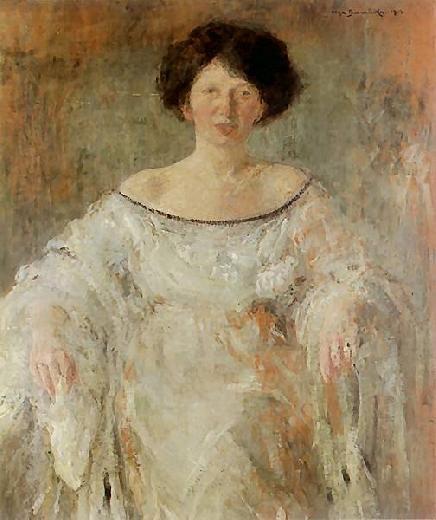 Portret młodej kobiety w bieli, 1912, by Olga Boznanska (Polish, 1865-1945)