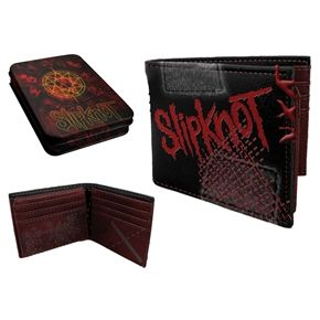 Slipknot Leather Wallet & Tin Gift Set  This is a genuine black leather wallet with metal rings attached Slipknot logo on the front and tribal S motif on the back. Comes with tin showing the nine masks of the band Slipknot logo and tribal S with pentagram.