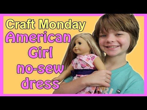 Hey everyone, it's Presley@actoutgames. Comhere and today I'm going to be making this no sew dress for my American Girl doll. Idecided that some of my American Girl doll needed more summery outfits because what theyhad on wasn't really summery. So I decided they would need some more summery outfitsso I saw this tutorial on MyFroggyStuff and it was supper awesome so let's go ahead! (intro music) So first. I have this fabric that came froman old t-shirt that I wore like all the time when I was…