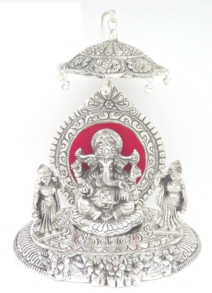 White Metal Riddhi Siddhi Ganesha White Metal Ganesha Siddhi