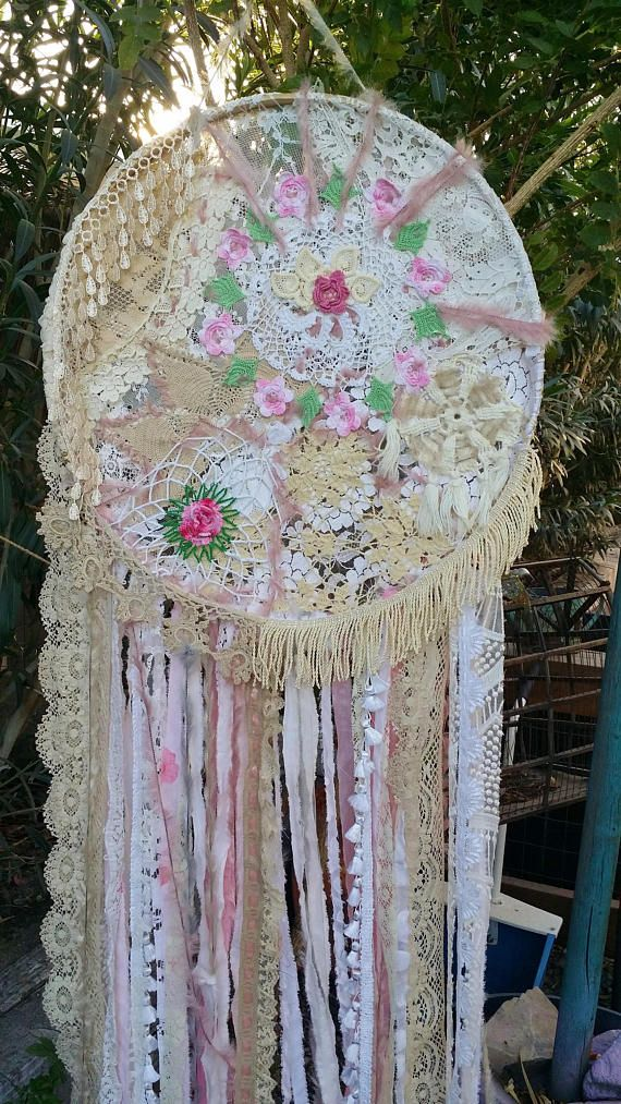 LARGE SHABBY CHIC DREAMCATCHER... IN STOCK!.. Perfect for your Shabby Chic Wedding:) ONE OF A KIND Wall Art for your Boho Space Each one of these are unique.....I use antique crocheted linens and doilies, silk fabrics, lace, ribbon, velvet , fringe, tassels etc. and spun fuzzy yarn. I let