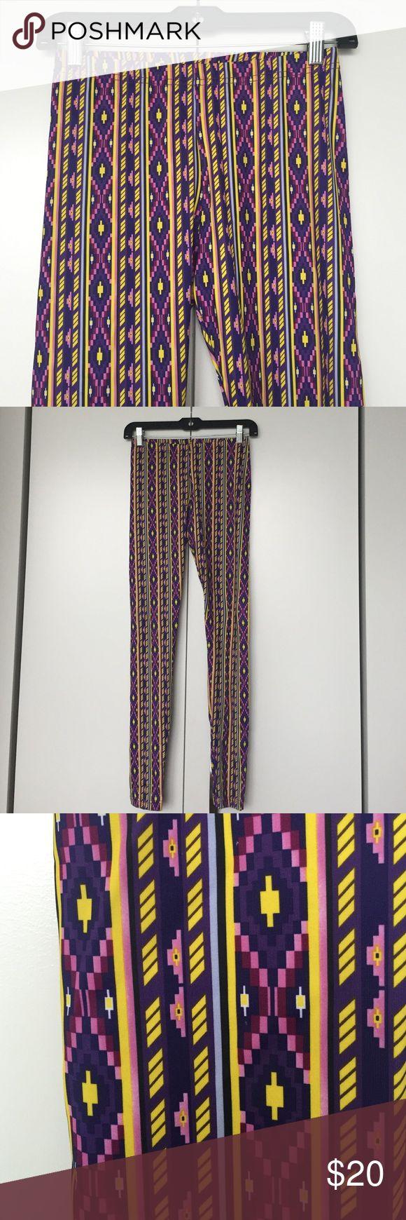 American Apparel Tribal Print Leggings Spandex nylon leggings in purple tribal print. Excellent used condition! American Apparel Pants Leggings