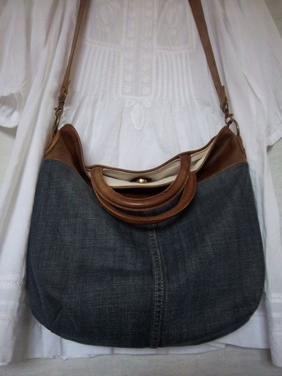 Leather/denim bag tan leather and stone wash von LoulousEmporium