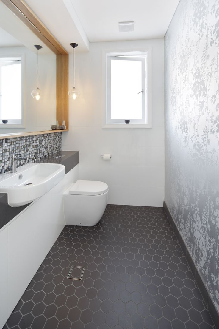Guest bathroom. Hex tiles, Florence Broadhurst wallpaper.