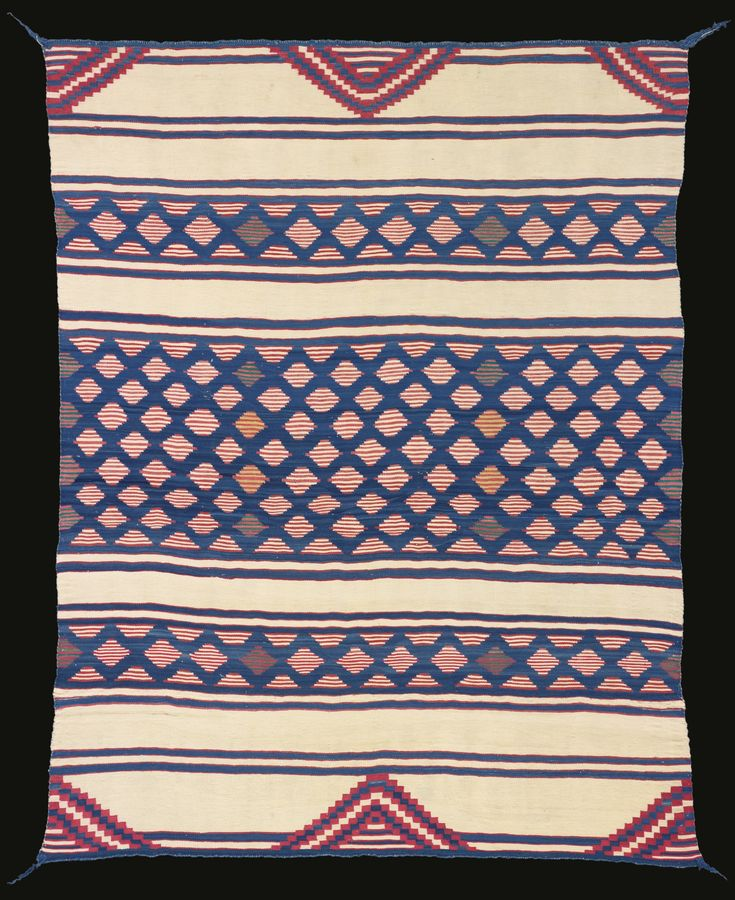 Classic Navajo Man's Wearing Blanket, Bayeta Serape, Four Corners Area -   handspun Churro wool in natural ivory and indigo blue, raveled bayeta in indigo and sulphur-dyed green, cochineal red. 58 in. length by 46 in. width