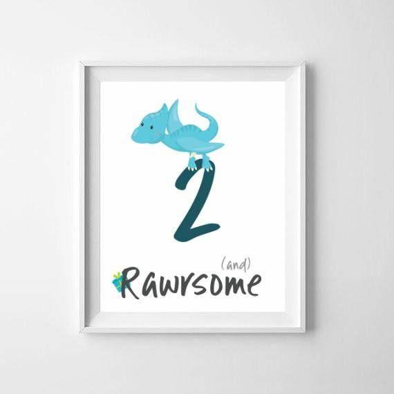 Birthday Dino Print / Rawrsome / Dinosaur Boys Print / 2nd Birthday Print / Awesome Boys Print / Dinosaurs Nursery Poster / Dino Birthday 2