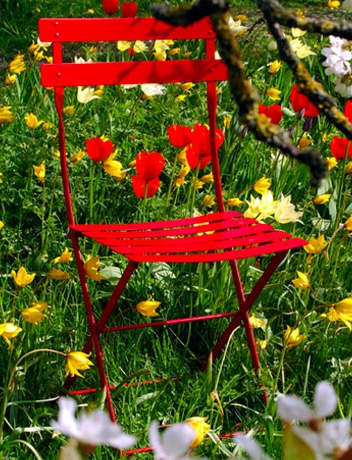 Red Garden Chair- for my outside table and chairs?  Hummm might be pretty!