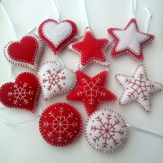 Felt christmas ornaments set of 10 heart star by DusiCrafts