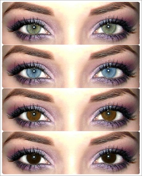 Same make up. Different eye color. My natural eye is like the bottom. With contacts it's a brighter version of the top