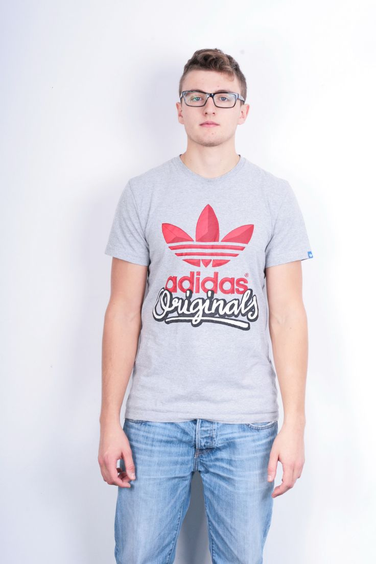 Adidas Originals Mens M Shirt Crew Neck Grey Sport Top Cotton