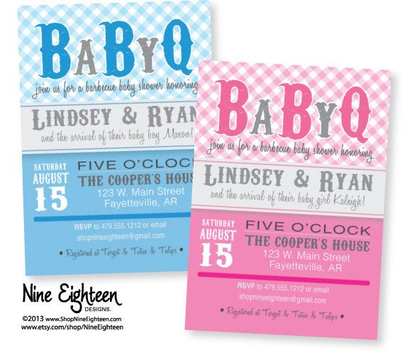 BaByQ Backyard Barbeque Baby Shower. Custom Printable PDF/JPG invitation. I design, you print. Made to Match add ons available. on Etsy, $12.00