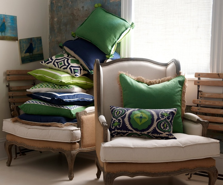 """Amazing Lacefield designs new pillows with a preppy edge, haute couture, """"off the rack"""" of the pillow world. Here is every combination of blue and green. My new love!!!"""