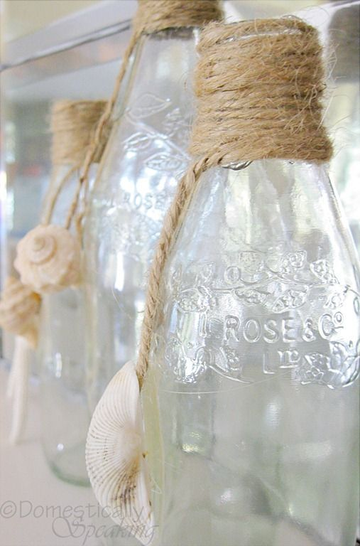 Beach style jars with twine and shells