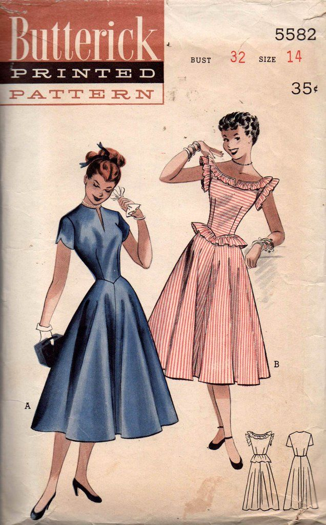 Butterick 5582 Womens Fit & Flare Dress with Shaped Sleeves or Ruffle Trim 50s Vintage Sewing Pattern Size 14 Bust 32 inches