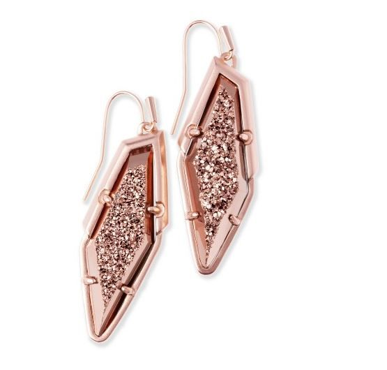 Kendra Scott Bex Drop Earrings in Rose Gold Drusy #Kendra scott #jewelry #accessories #fashion #earrings #rings #jewelry #fall fashion #raw fashion magazine #promo code #coupon code #discount #sale #fashion accessories #luxury #glamorous #style #chic #Christmas #rose gold #holiday