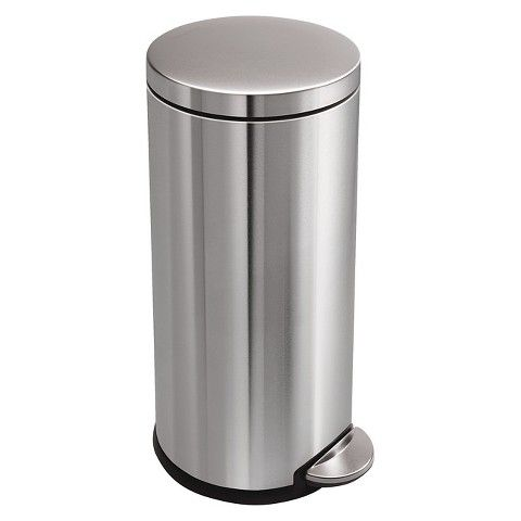 simplehuman studio 30 Liter Round Step Trash Can in Fingerprint-Proof Brushed Stainless Steel