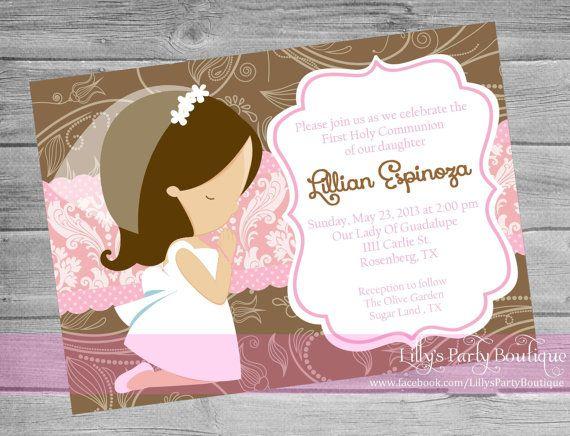 Girl First Communion Digital Invitation- #0079 on Etsy, $14.00