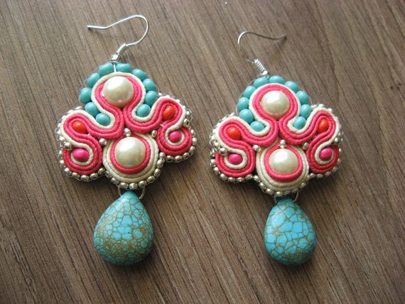 Soutache earrings. They look like candy!