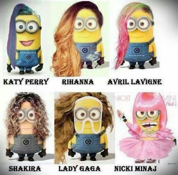 Heights Of Minions Hahah  Katy Perry, Rihanna, Avril Lavigne, Shakira, Lady  Gaga And Nicki Minaj. Despicable Me Minions In A Totally Different Avatar!