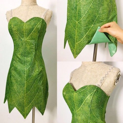 P656 Green Tinkerbell flannel leaf print dress Costume custom made women adult 1