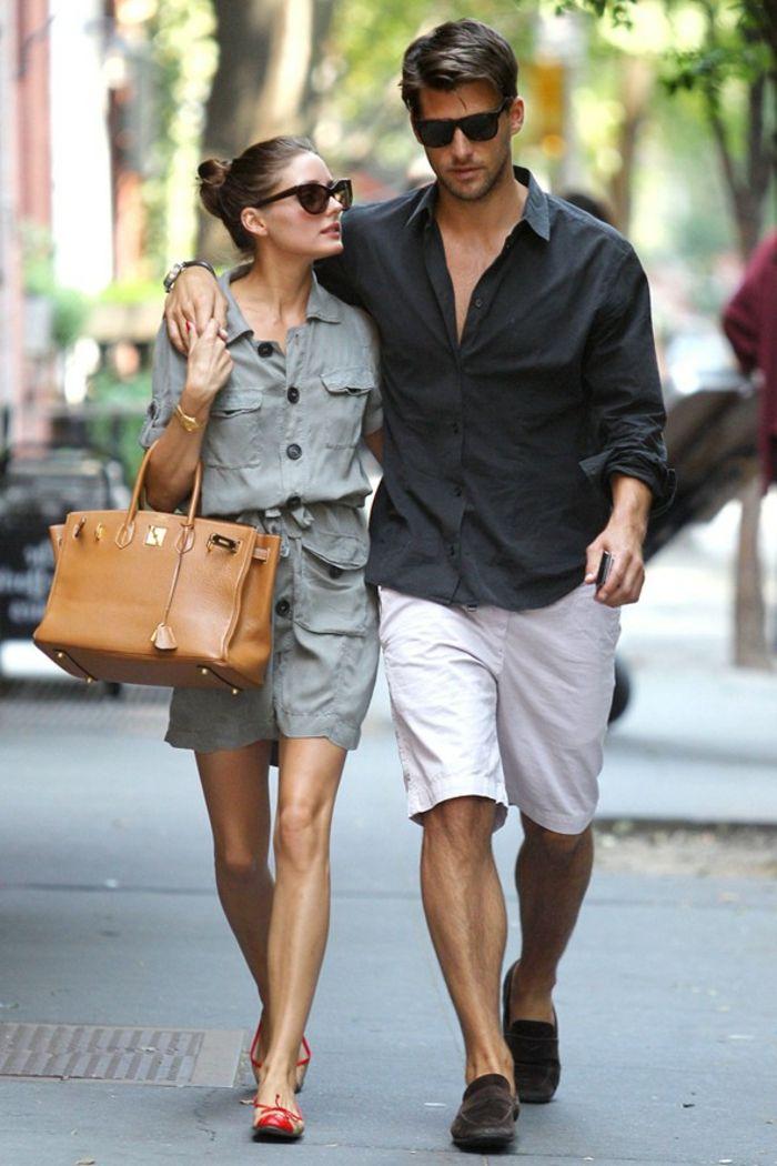 Mode robe chemise femme robe chemisier fluide robe chemise lin Olivia Palermo