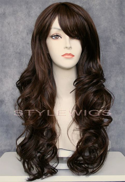 Color: Dark Brown Condition: Worn a few times; bangs have not been trimmed or styled in any way (hence they look versatile).  All used wigs will be washed and brushed before getting shipped out!   Originally $100  50% human hair 50% synthetic - looks extremely realistic, very little shine....