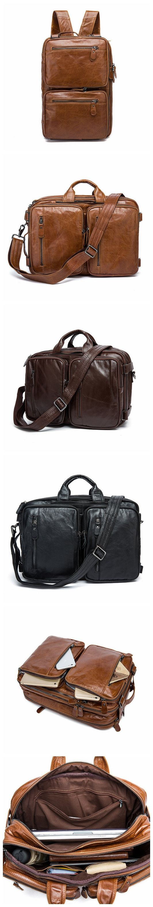 Top Grain Backpack, Leather Messenger Bag, Multi-Functional Shoulder Bag 432