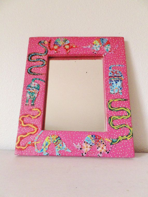 Painted Mexican Mirror Colorful Carved Mirror by BlendedSplendid