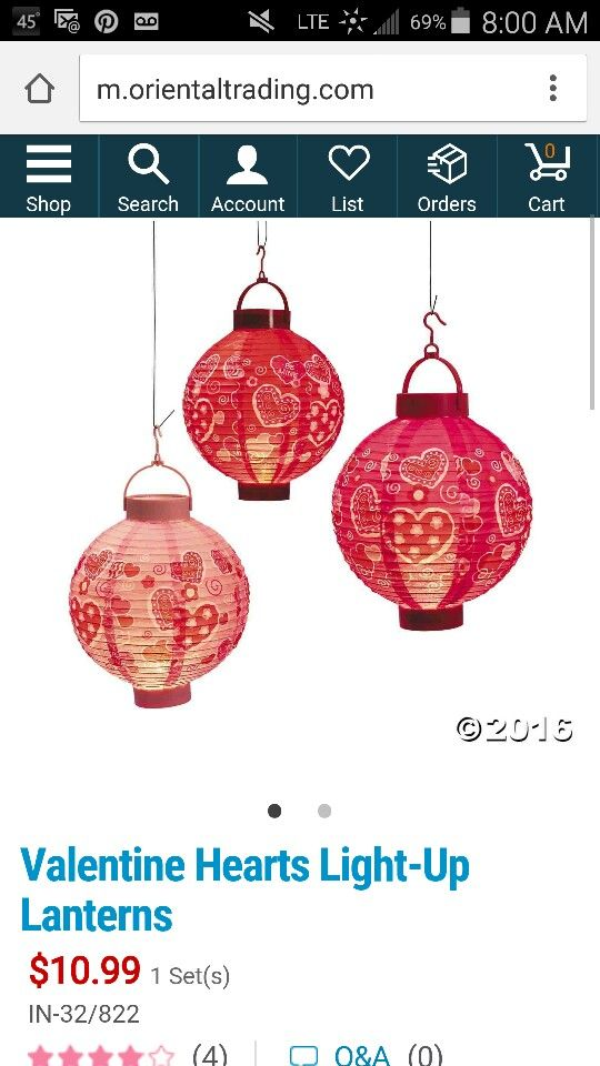 Valentines  lanterns  from oriential trading