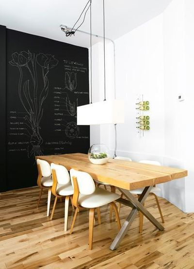 Chalkboard wall: Dining Rooms, Interior, Chalkboards, Idea, Chalkboard Walls, Chalk Board, Chalkboard Paint, Kitchen, Design
