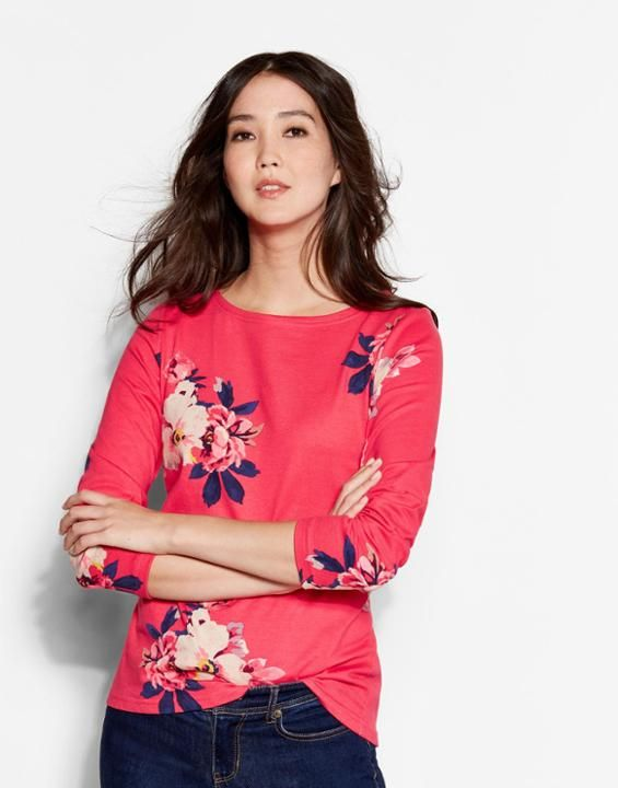 JOULES HARBOUR PRINT TOP RED DAISY