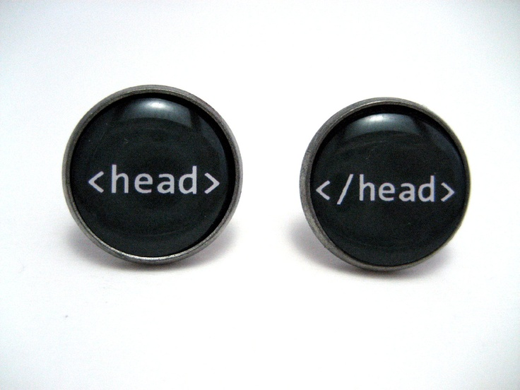 Head tag HTML Studs - Web designer black and white text head tag post earrings - Geekery Geek Chic Techie Computer Programmer. $4.50, via Etsy.