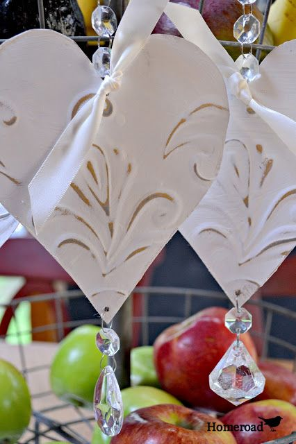 Tin Heart Bling Ornaments www.homeroad.net
