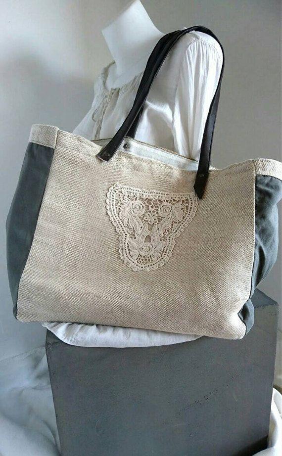 Sac en toile de jute recyclée sac fourre tout sac de