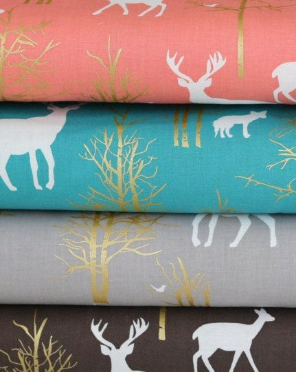 Baby Bedding Crib Nursery Sheets Woodland Deer Coral Aqua Grey Brown Metallic on Etsy, $43.99 AUD